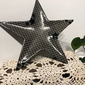 Primitive country checkered ceramic star
